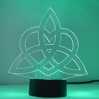 Triquetra evighet kjærlighet hjerte knop farge skiftende LED mini akryl lys