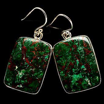 """Chrysocolla Earrings 1 1/2"""" (925 Sterling Silver)  - Handmade Boho Vintage Jewelry EARR400811"""
