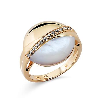 Orphelia Silver 925 Ring with Mother of Pearl & Cubic zirconia  Gold plated