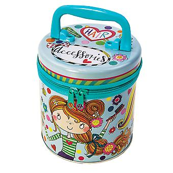 Childrens blue hair accessories zipped storage tin