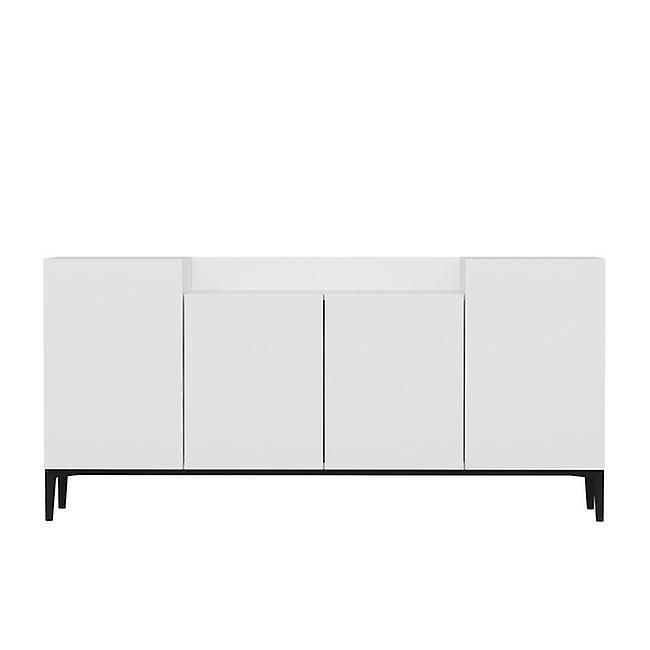 Mobile Polyvalent Ellaria Couleur Blanc, Noir en Puce Melaminique, Métal 160x42x75 cm, 15 cm