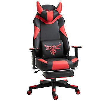 Vinsetto PU Leather Gaming Office Chair w/ 2 Pillows Footrest 5 Wheels Reclining Adjustable Height Armrest Racing Rocking Ergonomic Red