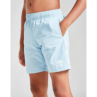 New Adidas Originals Boys' Trefoil Repeat Swim Shorts Blue