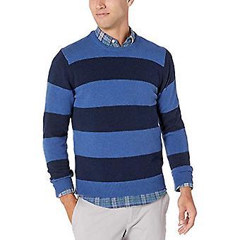 Essentials Men's Midweight Crewneck Sweater, Blue/Navy, Small