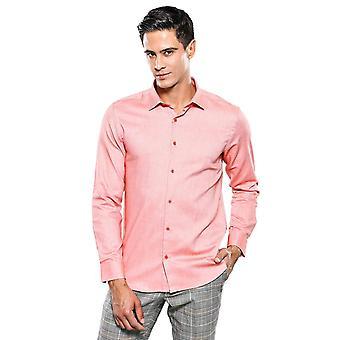 Röd självpunkt mönster slimfit skjorta