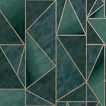 Charon Geometric Wallpaper Teal/Gold Holden 91141