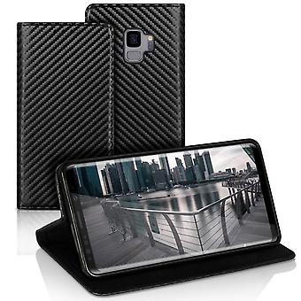 Book case with card compartment for Samsung Galaxy S9 Carbon Fiber Magnetic Lock Wallet TPU Black