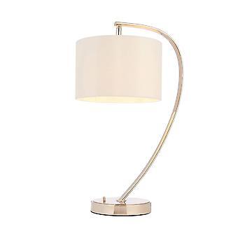Endon Josephine - 1 lichttafellamp helder nikkel, vintage witte faux zijde, E14