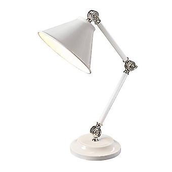 1 Lampe de table légère Blanche, Nickel Poli, E27