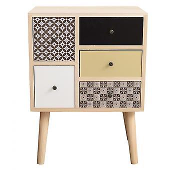 Rebecca Furniture Modern Bedside Drawer 5 Brown 62x45x30