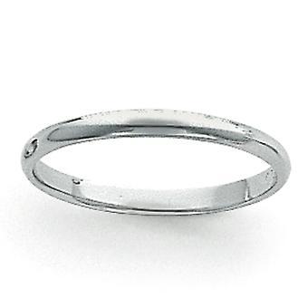 Platina Solid polert halv rund lette 3mm Half-runde fjærvekt Band Ring - Ring størrelse: 4 til 12