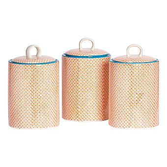 Nicola Spring 3pc Hand-Printed Biscuit Barrel Set - Porcelain Kitchen Storage Canisters with Seal - Orange - 15.5 x 25cm