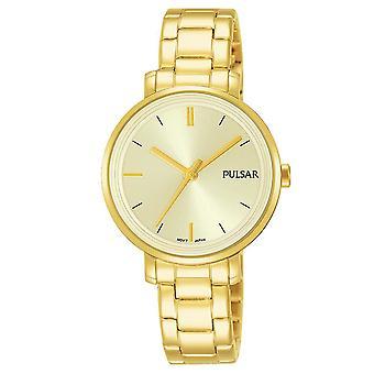 Correa de acero inoxidable Pulsar señoras con reloj Champagne Dial 50M (PH8360X1)
