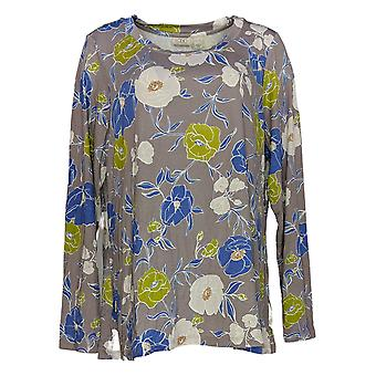 LOGO by Lori Goldstein Women's Top Floral Printed Gray A301971