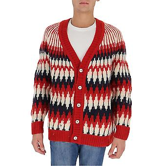 Gucci 633825xkbiz9118 Men's Red Wool Cardigan