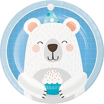 SMALL Birthday Teddy Bear Paper Cake Plates x 8