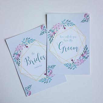 Geometric Floral Design Bride and Groom Hen Party Game Ensemble de 2 Cartes