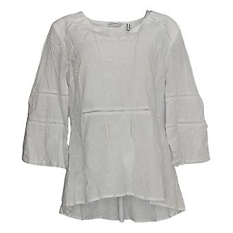 Isaac Mizrahi Live! Women's Top Bell-Slv Eyelet W/Ladder Lace White A354780