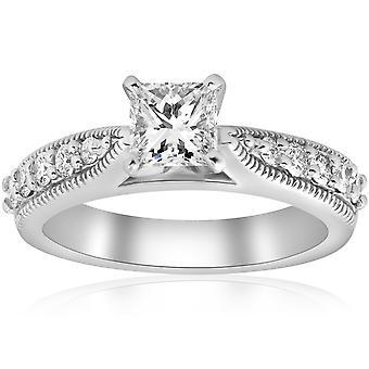 1 3/8ct Vintage Princess Cut Diamond Engagement Ring Art Deco 14k Wit Goud