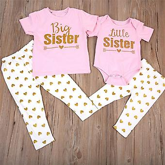 Nouveau-né Baby Sisters Matching Romper, T-shirt Tops +pants Leggings Outfit Sets
