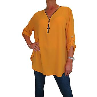 Women's Smart Casual Loose Blouse Roll Up Sleeve Shirt Zip V Neck Chiffon Top 10-16