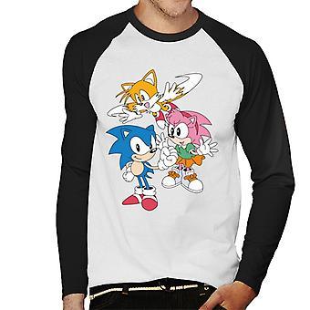Sonic The Hedgehog Amy Rose och svansar Män & apos; s Baseball Långärmad T-shirt
