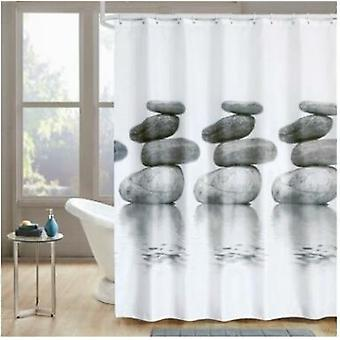 Stone Waterproof Shower Curtain Bathroom Bath Curtain With Plastic