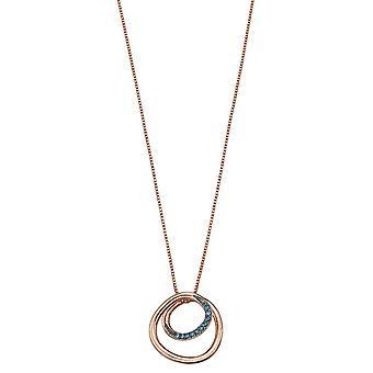 Fiorelli Silver Womens 925 Sterling Silver Montana Blue Nano Crystal & Rose Gold Circle Spiral design Necklace 41cm + 5cm