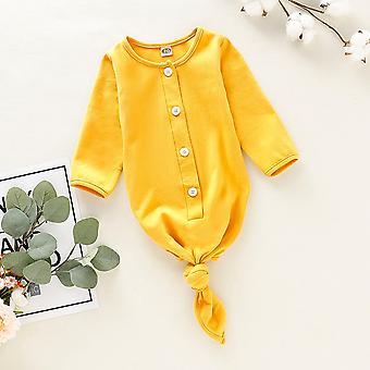 Noworodka Baby Sleep Clothes, Długi rękaw Stałe Sleepwear