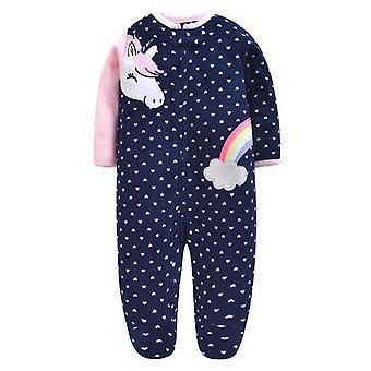 Newborn Baby Clothes, Cartoon Unisex Long Sleeve Footies Fleece Zipper