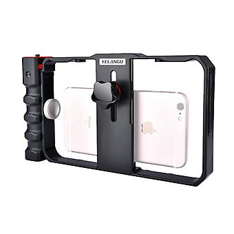 YELANGU YLG0901B Vlogging Live Broadcast Smartphone Plastic Cage Video Rig Filmmaking Recording Handle Stabilizer Bracket for iPhone, Galaxy, Huawei,