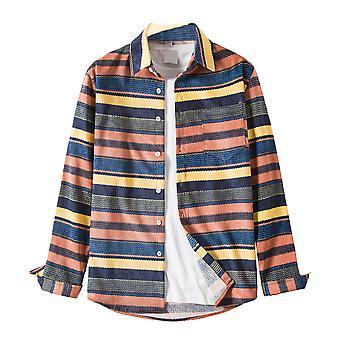 YANGFAN Men's Striped Shirt Long-Sleeve Cotton Top