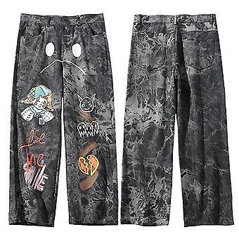 Nohavice Streetwear, Loose Denim Nohavice, Graffiti Tlač, Vintage Denim Joggers