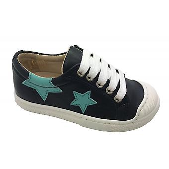 PETASIL Leather Laced Star Shoe Navy Blue