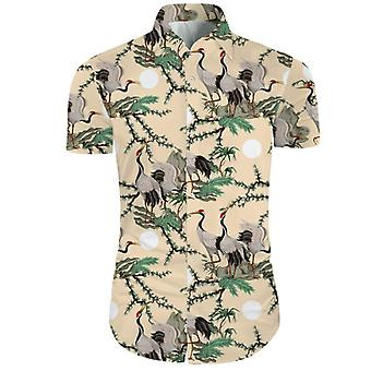 Mens 2 Pieces 3d Floral Print Casual Button Down Short Sleeve Hawaiian Shirt And Shorts Set In Beige