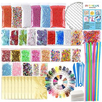 Fepito 84 pack slime supplies kit including foam balls, fishbowl beads, net, shell, sponge cube, sli
