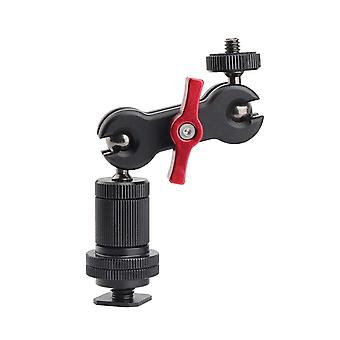 Zhiyou mini magic arm double ballhead with hot shoe mount adapter for small monitors, transmitters o