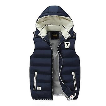 Winter Warm Down Casual Sleeveless Jacket Vest Overcoats Hat Detachable