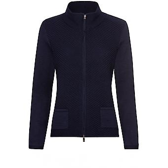 Olsen Navy Ribbed Front Cardigan