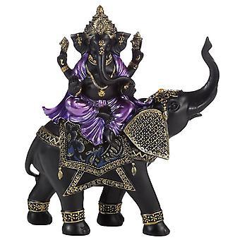 Éléphant d'équitation pourpre, or et noir de ganesh