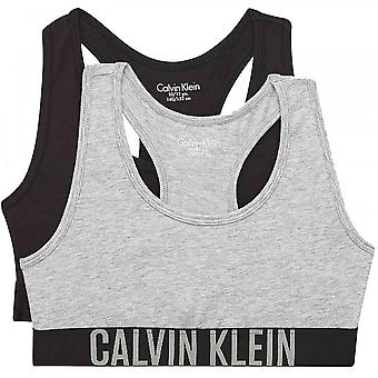 Calvin Klein Girls 2 Pack Intense Power Bralette, Heather Grey / Musta, 8-10 vuotta