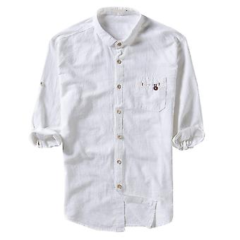 Yunyun Men's Mid-sleeve Vogue Solid Color Cotton Button Shirt