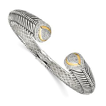 925 Sterling Silver Hinged Polished Prong set finish With 14k Diamond Cuff Stackable Bangle Bracelet Jewelry Gifts for W