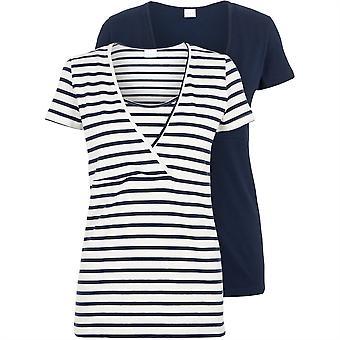 Mamalicious Womens Lea Nurse T 2 Pack Short Sleeve Scoop Neck Casual Shirt Top