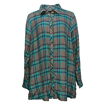 Tolani Women's Top Collection Button Front Tunic Green A354814