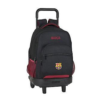 School Rucksack with Wheels Compact F.C. Barcelona Black
