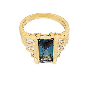 Contemporary Fancy Cut Blue Zircon Step Design Ring