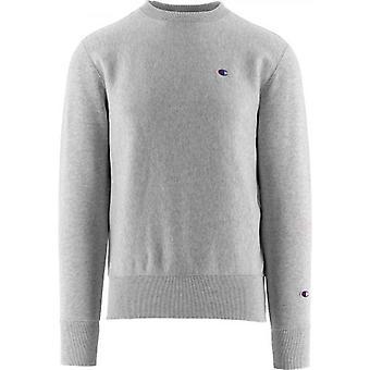 Champion Grey Melange Reverse Weave Logo Sweatshirt