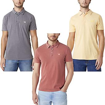 Wrangler Mens Classic Short Sleeve Button Front Denim Polo Shirt Top Tee