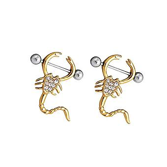Pair of scorpion design cz nipple shields 14ga gold plated